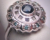 Vintage Sapphire Blue Diamond Wedding Ring Engagement W. Gold Art Deco