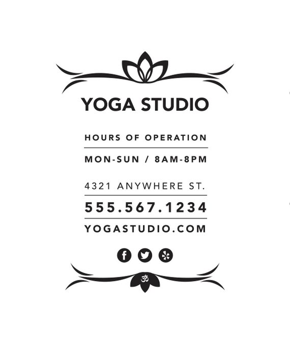 Store Hours / Yoga Studio / window decal / vinyl decal / yoga pose / business sign / om / namaste sign / flow / vinyasa