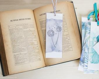 Wishing Away Bookmark - dandelion seed ink illustration bookmark