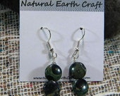 Green African Kambaba jasper earrings semiprecious stone jewelry night and stars jasper packaged in a colorful gift bag 2641 A B
