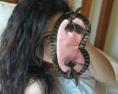 Adjustable Sleep mask  CLAIRE  Pink and chocolate with CHOCOLATE BOWS by Love Me Sugar on Etsy