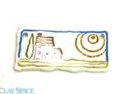 Ceramic House Pendant, Quaint House, Rustic Ceramic Pendant