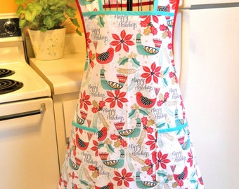 Women's Retro 50s Vintage Style Christmas Apron in Extra Large