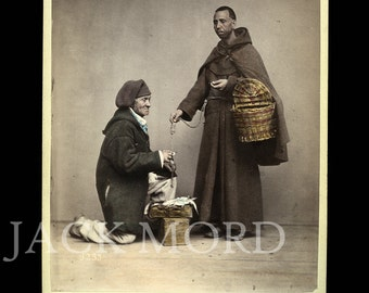 Rare Occupational 1870s Color Photo ~ Italian Monk and Fish Dealer by Sommer