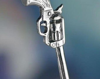 Sterling Silver Revolver Gun Charm Movable Old West Cowboy Solid .925