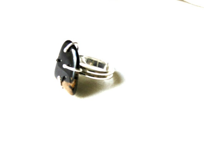 Statement Ring Chunky Adjustable Ring Petrified Wood
