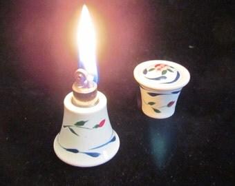 Vintage Porcelain Lighter Elfinware Strikealite Table Top Hand Painted Floral Lighter EXCELLENT WORKING CONDITION
