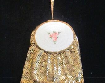 1930s Purse Mesh Purse Guilloche Purse Evans Purse Gold Mesh Purse Wristlet Purse Handbag Powder Compact Purse Vintage Purse