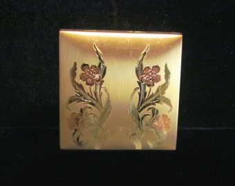 Vintage Poppy Makeup Compact Elgin American Compact Gold Compact Powder Mirror 1940s EXCELLENT CONDITION