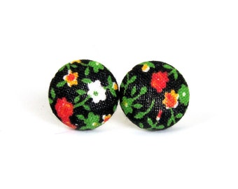 Vintage style button earrings - black fabric earrings -  tiny floral stud earrings - red green white yellow