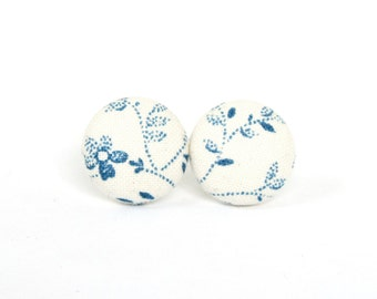 SALE White blue fabric earrings - porcelain flower button earrings - tiny bridal stud earrings - gift for her