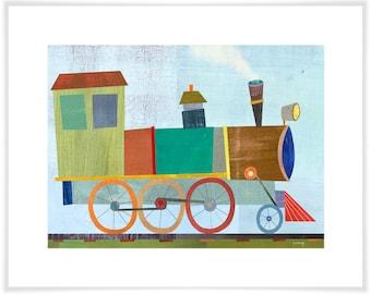 Elegant Engine Train // Giclee Art Print // Kid's Room Decor