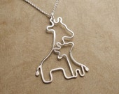 Mother and Baby Giraffe Necklace, New Mom Necklace, Sterling Silver, Made To Order