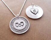 Personalized Sheep Family Necklace, Ewe, Lamb, Ram Jewelry, Heart Monogram, Fine Silver, Sterling Silver Chain, Made To Order