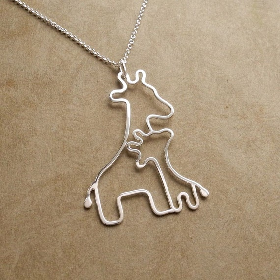 Reserved, Mother and Baby Giraffe Necklace, New Mom Necklace, Sterling Silver, Ready To Ship