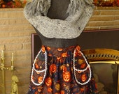 Retro Style Jack O' Lanterns with Wtich Hats and Brooms Halloween Half Apron