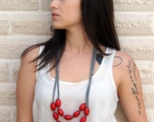 red wooden necklace with grey cotton jersey / under 30 dollars / holiday gift / best seller