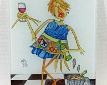Glass Cutting Board Trivet Kitchen is Closed 8x11 What is For Dinner Wine Lady Humor