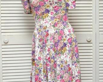 Vintage 80s Womens Floral Dress/English Garden Roses Print/Romantic/Polyester/All That Jazz/Bridal Wedding/Poly Cotton/Medium Juniors