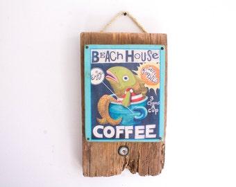 Beach House Coffee Beach Decor on Lightly Distressed Wood Shabby Chic Surf Shop Coastal Ocean Beach Surf Baby Nursery Beach Themed Kids Room