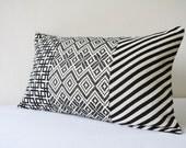 Patchwork Black and White Jacquard Lumbar Pillow Cover , Patchwork Geometric Pillow , Black & White Pillow , Housewares , Throw Pillow