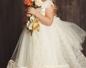 Beautiful  Luxury Girls Dress, Removable Lace Trail and Bustle, Flower Girl Dress