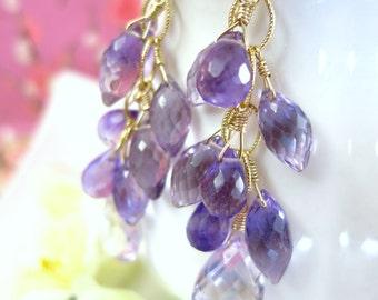 Pink and Purple Amethyst Chandelier Earrings, Lavender pink amethyst Cluster Gold Earrings, Purple Bridesmaid Chandelier Earrings