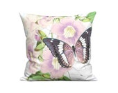 Smoky Amethyst Orchid Pink Butterfly Pillow Cover - Trumpet Vine Botanical Pillow - 12x 14x 16x 18x 20x 22x 24x 26x Inch Linen Cushion Cover