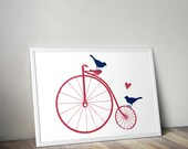 Art Print - Big Wheel Bicycle with Birds and Heart - 8x10 or Larger in Your Choice of Colors