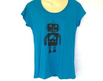 Blue Robot Tshirt - screen print, retro, space age - Ladies sizes 8 to 18 avail