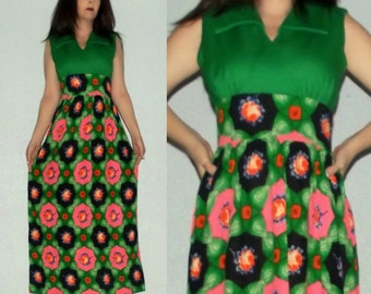 901 SM Vtg 60s 70s Mod Green PSYCHEDELIC Neon Floral Boho Hippie Empire Waist Hippie Hostess Maxi Dress