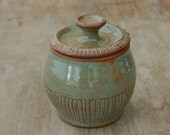 Pottery Sugar Bowl with Lid, Covered Honey Pot Lidded Jar Jam Jar in Woodland Green * Made to Order