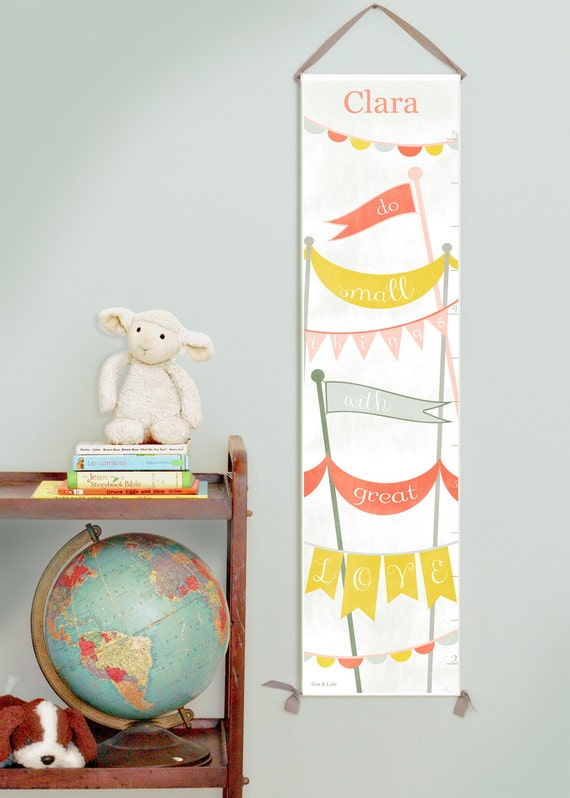 Custom/ Personalized Bunting and Banners canvas growth chart in pastels