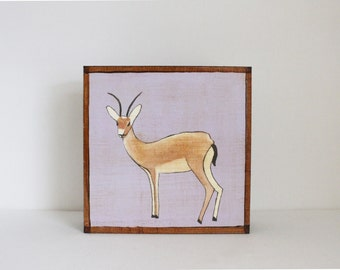 safari nursery decor, jungle nursery art, gazelle art print, animal print, art block, gazelle, kids wall art, jungle, nursery decor, nursery