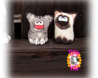 WILD KITTY Toy or Mascot hand felted - Made To Order
