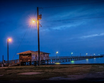 Early Morning Pier in the Harbor at Aransas Pass in Texas on the Gulf of Mexico No.0536 A Fine Art Nautical Seascape Photograph