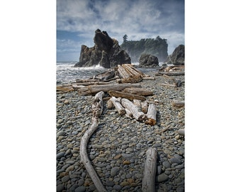 Driftwood and Sea Stacks on Ruby Beach at Olympic National Park in Washington State - A Fine Art Seascape Photograph
