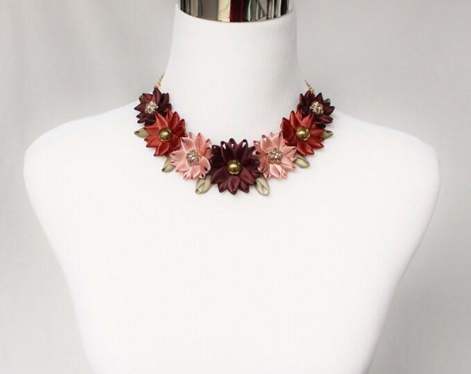 Burgundy Necklace, Burgundy Choker Necklace, Bridesmaid Flower Choker, Burnt Orange Necklace, Dark Orange Necklace, Burgundy Wedding Jewelry