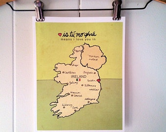 Romantic Art Print, Ireland, Baby Gift, Travel Poster, Irish Map, Travel Nursery Wall Decor, Kids Room Art, Illustration, Saint Patricks Day