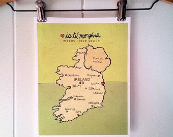Romantic Art Print, Ireland, Baby Gift, Travel Poster, Irish Map, Travel Nursery Wall Decor, Kids Room Art, Illustration, Saint Patricks Day
