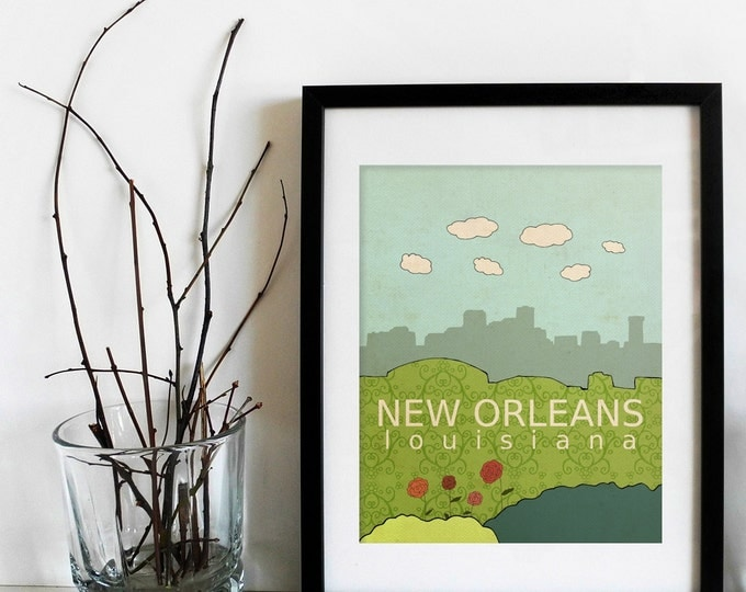 New Orleans Louisiana // City Skyline Poster, Trendy Modern Nursery Decor, Typography Print, Giclee, United States Travel Theme, America