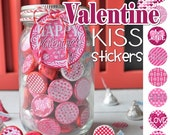 VALENTINE Chocolate KISS, Mason Jar Tag & Topper - Printable Kiss Stickers - Instant Download
