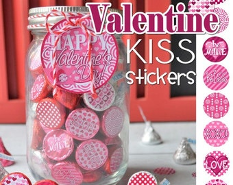 VALENTINE Chocolate KISS, Mason Jar Tag & Topper - Printable Kiss Stickers - Instant Download