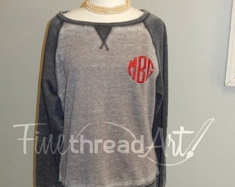 Monogram Raglan Sleeve Sweatshirt Jacket Ladies with Baseball Sleeves Plus Size Available 2X