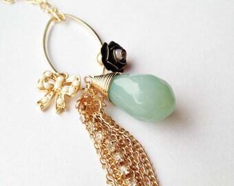 Mint charm necklace