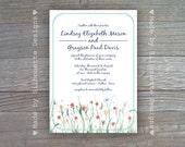 Wedding, Bridal Shower Invitation - Wildflowers - Country Wedding, Rustic Wedding Digital Printable File OR Professionally Printed Cards