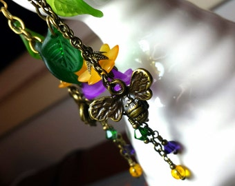 Honey Bee Charm Earrings, Purple Frosted Lucite Flower Honeybee Dangle Drops, Titanic Temptations Vintage Victorian Bridal Style 13018