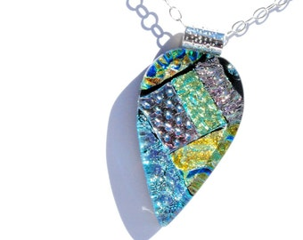 """Large Fused Glass Pendant, Dichroic Glass Pendant, Fused Glass Jewelry - Abstract, Pastels, Chain Included, 2-1/4"""" x 1-1/8"""" (Item #10697-P)"""