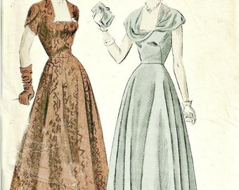 1940s Dress Pattern with Bias Circular Skirt Vogue 6601 Size 12 Bust 32