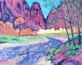 Virgin River-  Painting, Original Oil,  Zion Park, River, Red Cliffs, Fall Colors, Autumn, Home Decor, Wall Art, Family Room Art, Hanging